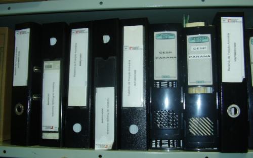 Algumas pastas do arquivo técnico externo - UHE Mogi Guaçu