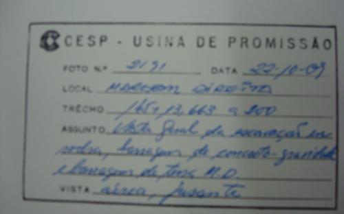 arquivo da segurança da barragem caixas com periodo de construção da UHE