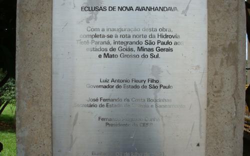 placa de inauguração da inclusa