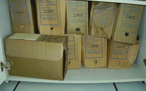 Situação das caixas nos armários do arquivo técnico